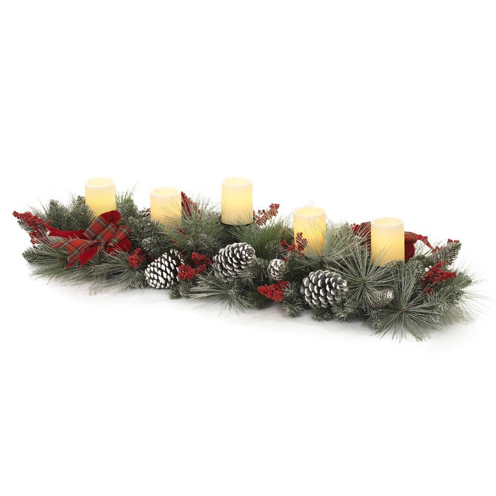 null 4-ft. Mixed Pine Snowy Candle Holder