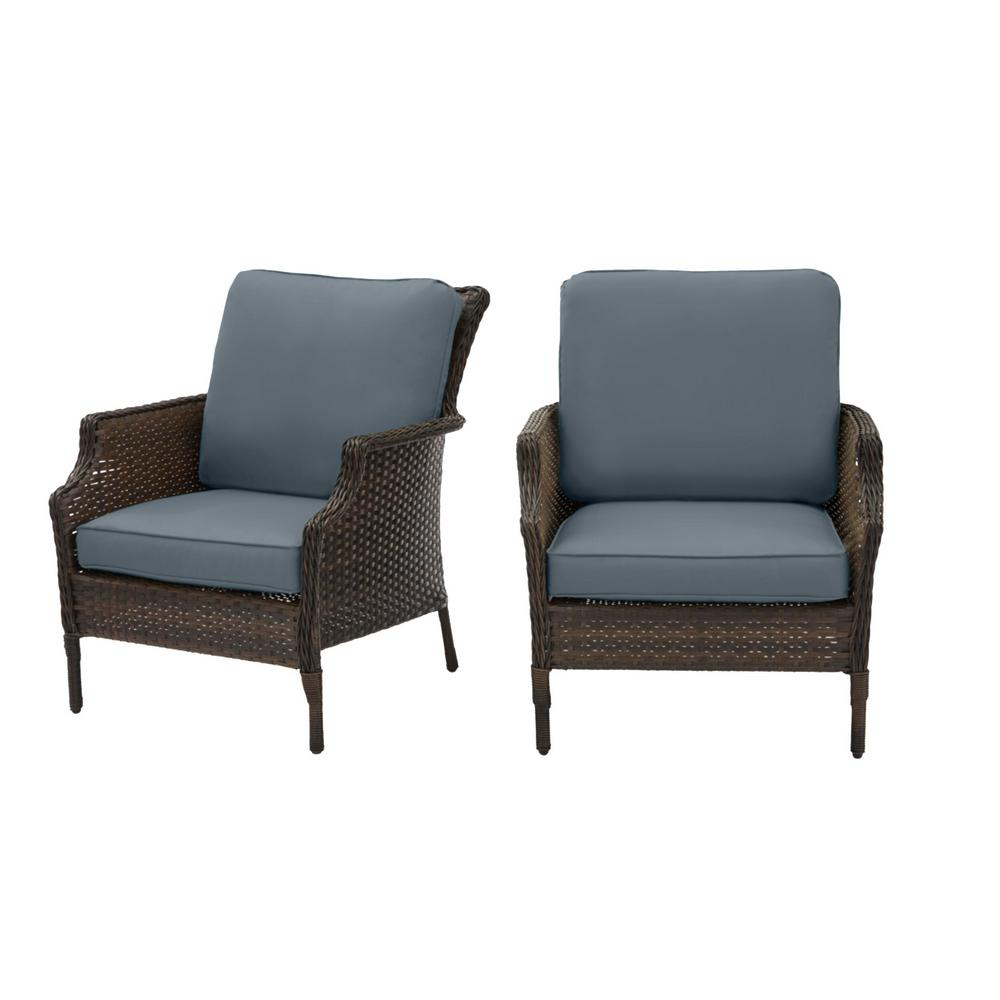 Hampton Bay Grayson Brown Wicker Outdoor Patio Lounge with Sunbrella Denim Blue Cushions (2-Pack) was $399.0 now $319.2 (20.0% off)