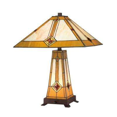 Tiffany Style Golden Mission 23 in. Bronze Lit Base Table Lamp