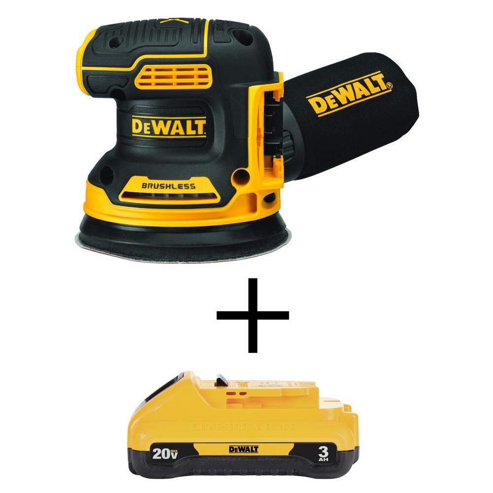 DEWALT 20-Volt MAX XR Li-Ion Cordless Brushless 5 inch Random Orbital Sander (Tool-Only) w/ 20-V Li-Ion Compact Battery 3.0Ah