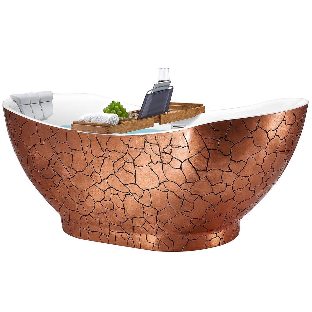 Freestanding 67 in. Acrylic Flatbottom Bathtub Modern Stand Alone Tub Luxurious SPA Tub in Rose Gold