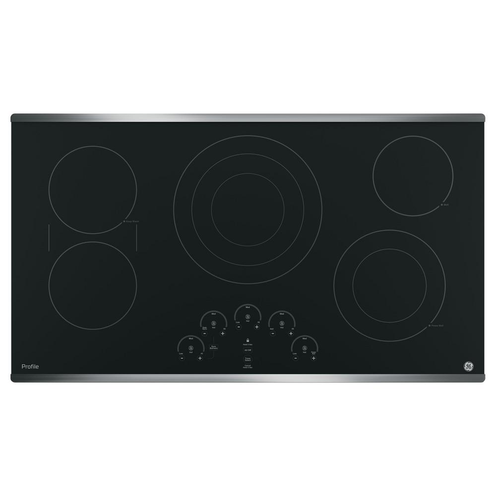 Ge Profile 36 In Radiant Electric Cooktop In Stainless Steel With 5 Elements Including Tri Ring Pp9036sjss The Home Depot