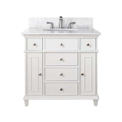 Windsor 37 in. W x 22 in. D x 35 in. H Vanity in White with Marble Vanity Top in Carrara White and White Basin