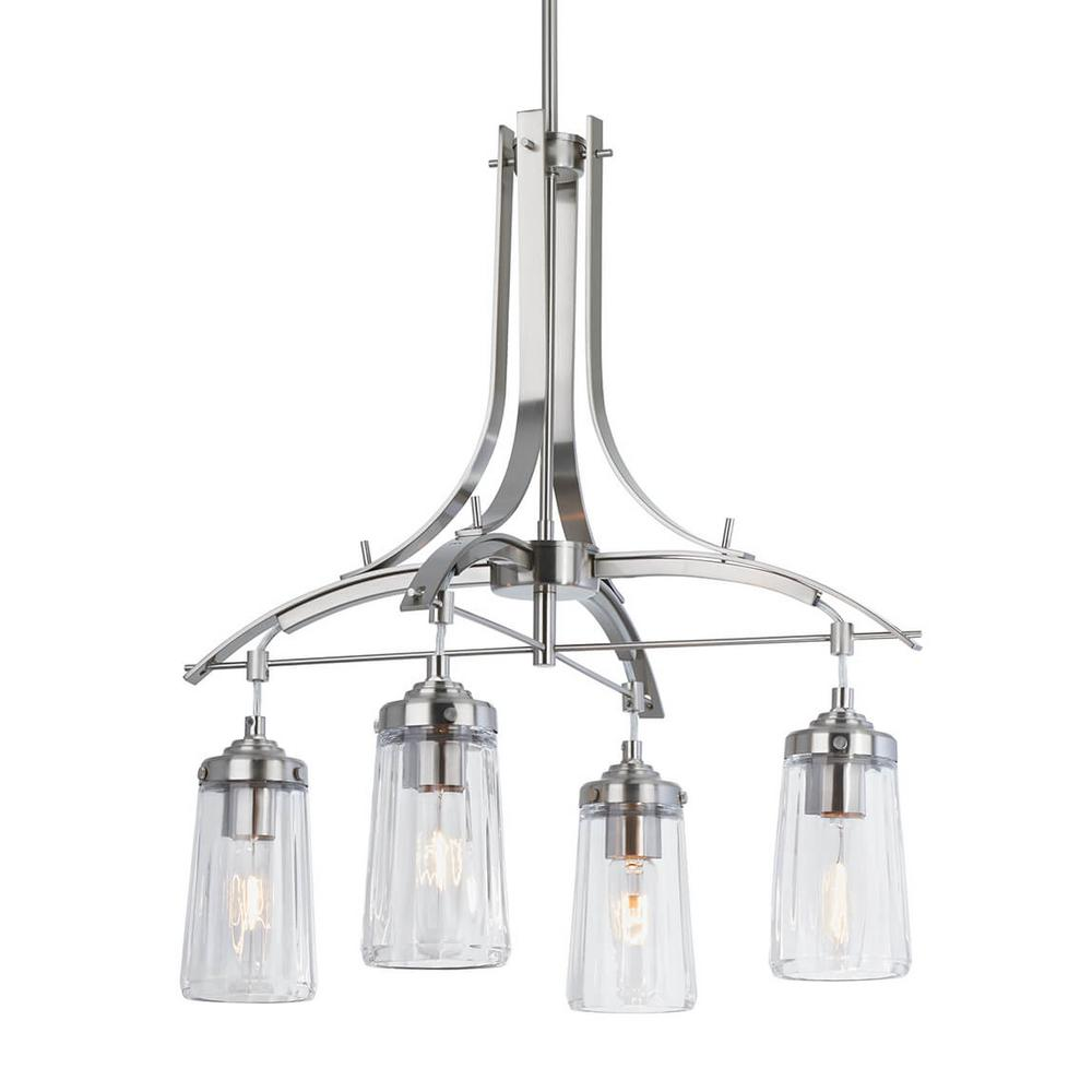 Artika Emma 4-Light Brushed Nickel Chandelier with Glass Shade was $130.94 now $79.97 (39.0% off)