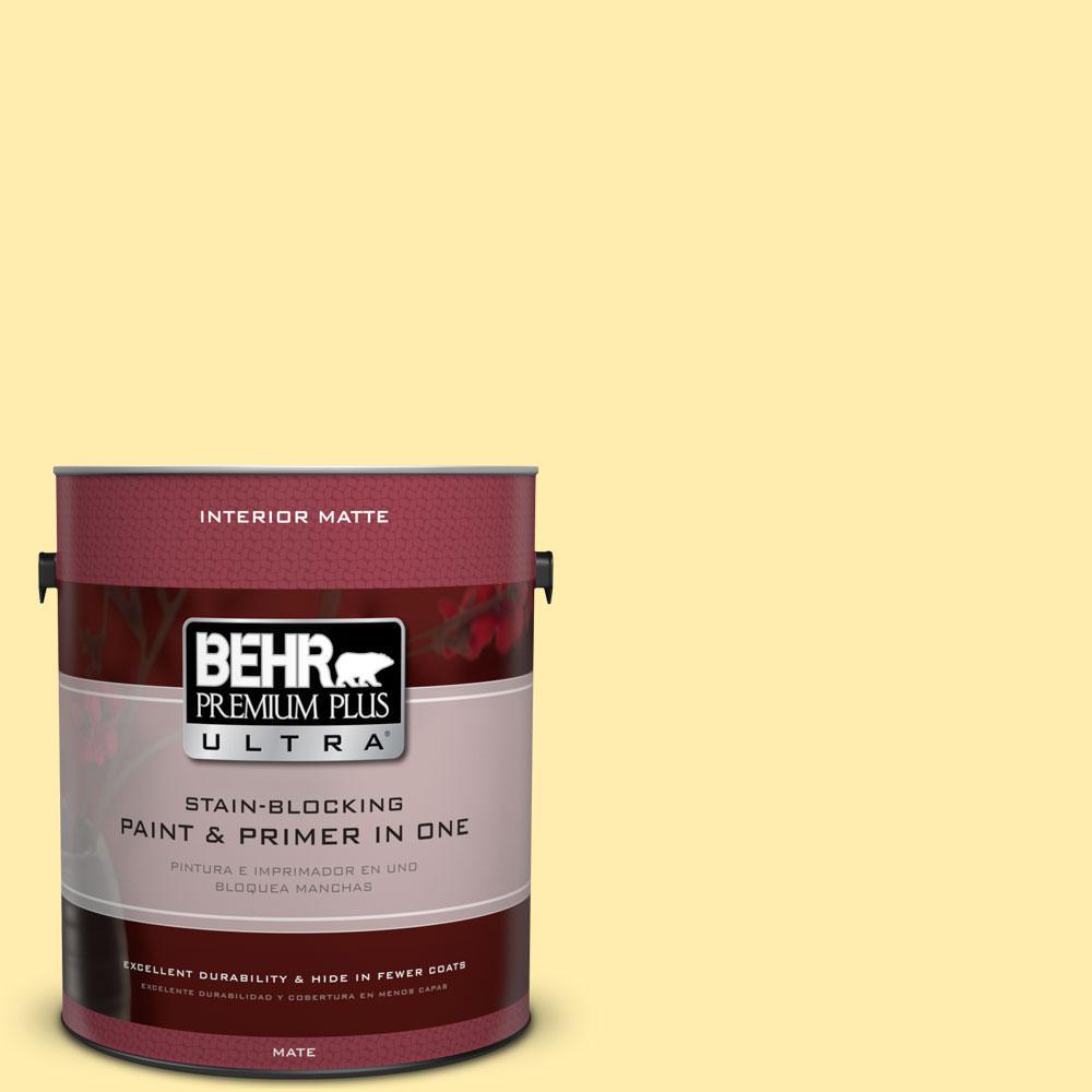 BEHR Premium Plus Ultra 1 gal. #370A-2 Pale Daffodil Flat/Matte Interior Paint
