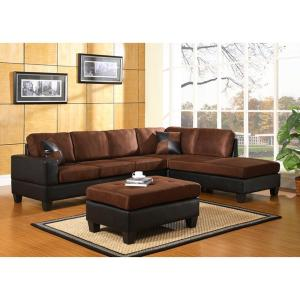 Dallin Chocolate Brown Microfiber Sectional  sc 1 st  The Home Depot : brown suede sectional - Sectionals, Sofas & Couches