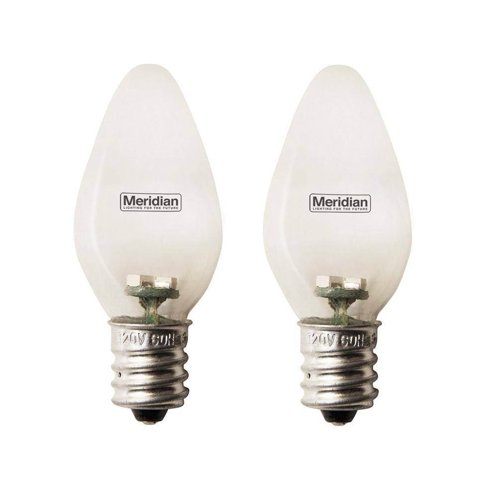 Meridian 4-Watt Equivalent Soft White C7 LED Light Bulb (2-Pack) Meridian 4-Watt Equivalent General Purpose Clear C7 LED Light Bulbs 2-Pack. Meridian C7 Light Bulbs are designed for nightlights, appliances, accent, task and general lighting. Using the latest energy saving technology, these bulbs are energy saving and cool to the touch.