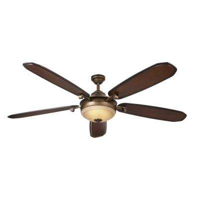 Amaretto 70 in. LED Indoor French Beige Ceiling Fan with Light Kit and Remote Control