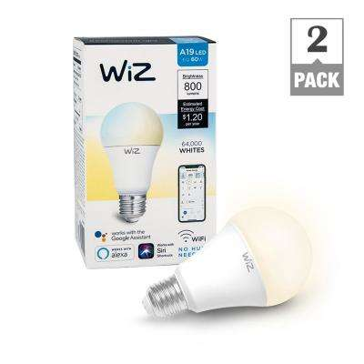 60W Equivalent A19 Tunable White Wi-Fi Connected Smart LED Light Bulb, 2700K (2-Pack)