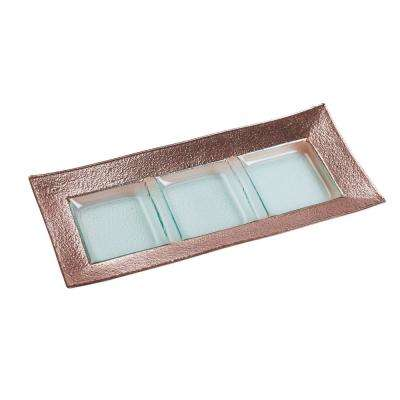 8.5 in. Studio Rose Gold Glass 3-Section Serving Platter