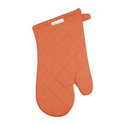 Solid Sea Coral Cotton Mitt Set of 2