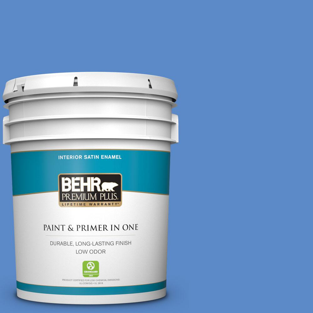 Behr Premium Plus 5 Gal 180e 2 Sugar Berry Satin Enamel Low Odor Interior Paint And Primer In One 705005 The Home Depot