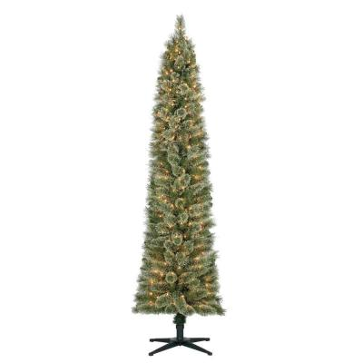 7 ft. Stanley Pencil Artificial Christmas Pine Slim Tree with Lights