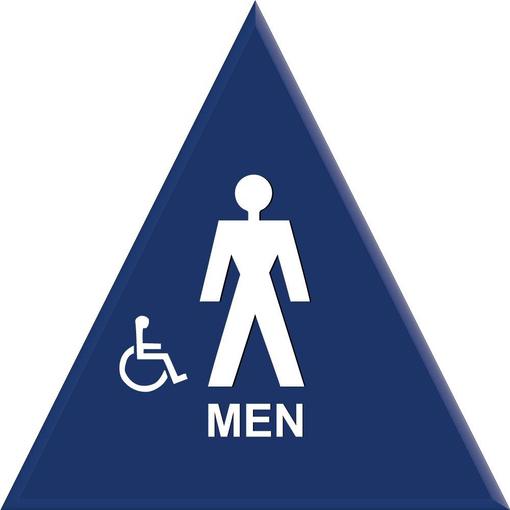 Lynch Sign 12 In Blue Triangle With Men Symbol And Accessible