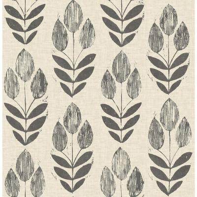 56.4 sq. ft. Garland Black Block Tulip Wallpaper