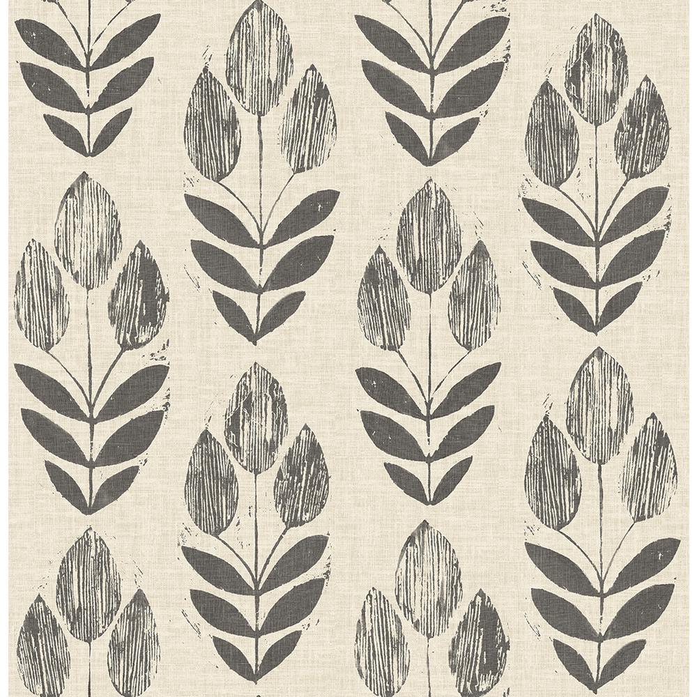 8 in. x 10 in. Garland Black Block Tulip Wallpaper Sample