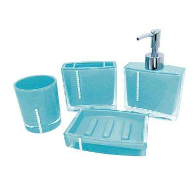 Contemporary 4 Piece Bath Accessory Set In Turquoise