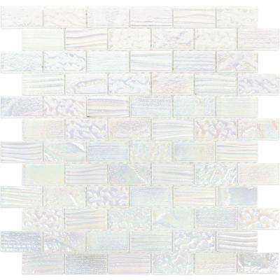 Marina Iridescent Bricks White 12.12 in x 12.75 in. x 8 mm Glass Mosaic Wall Tile