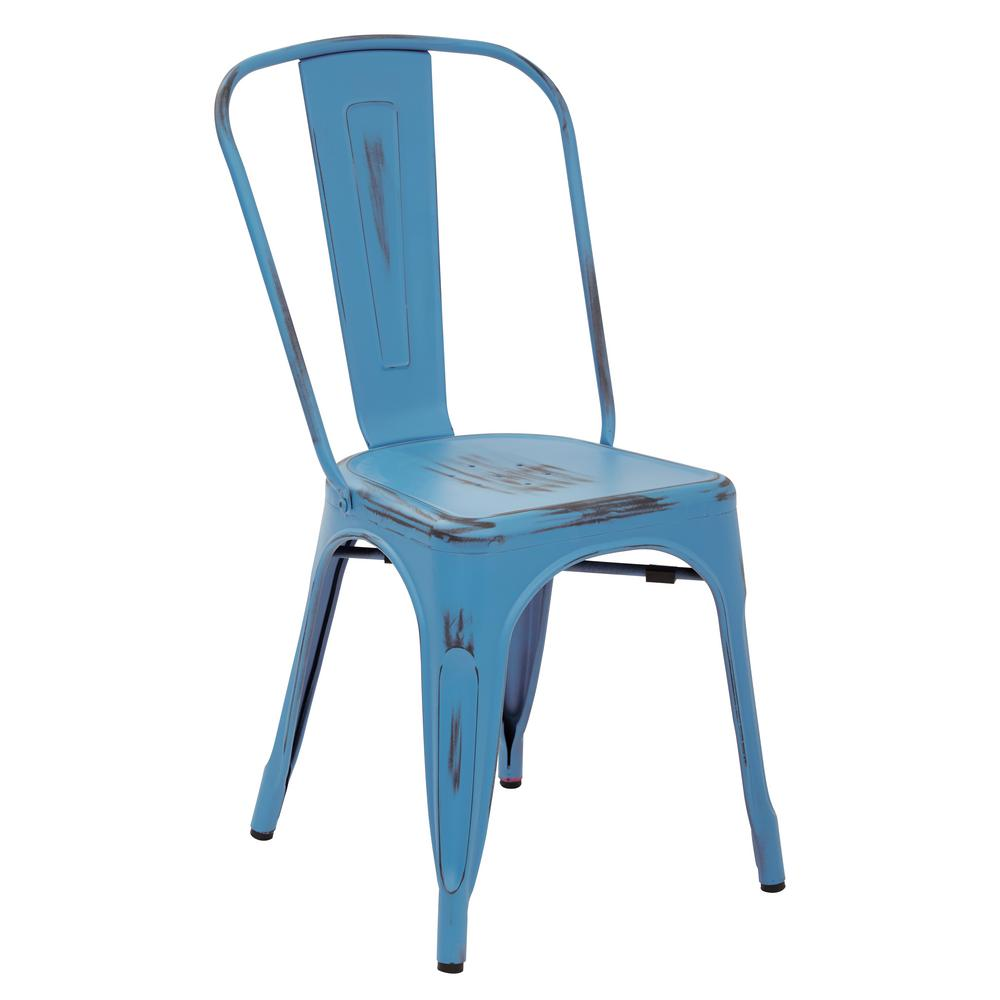 Bristow Antique Royal Blue Armless Metal Chair (Set of 2)