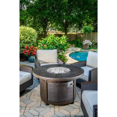 Lexington 48 in. x 25 in. Round Aluminum Propane Gas Fire Pit with Glacier Ice Firebeads