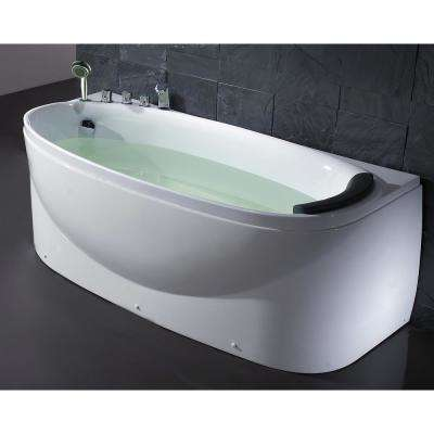 LK1104-L 67 in. Acrylic Flatbottom Bathtub in White