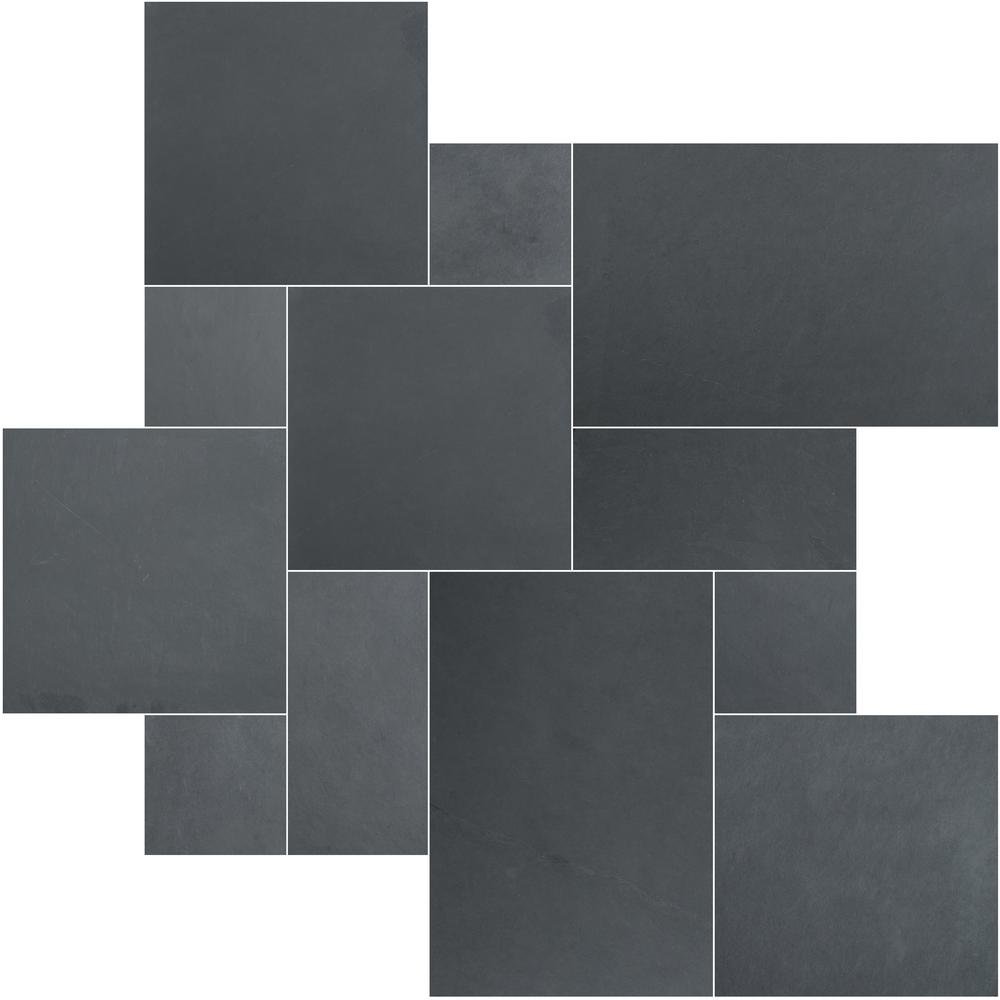 Black Slate Patter : Msi montauk blue ashlar pattern gauged slate floor and