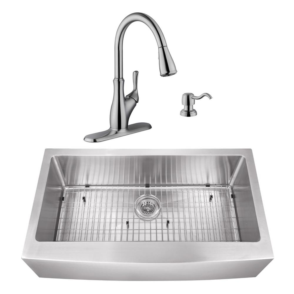 Cahaba Undermount Stainless Steel 35 7 8 In Apron Front Single Bowl Kitchen Sink With Brushed Nickel Faucet Casc0110 The Home Depot