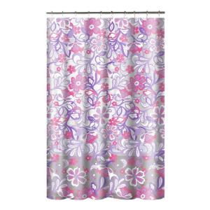 Creative Home Ideas Printed PEVA Frotti 70 inch W x 72 inch L Shower Curtain with Metal Roller Hooks in Purple/Pink by Creative Home Ideas