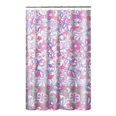 Printed PEVA Frotti 70 in. W x 72 in. L Shower Curtain with Metal Roller Hooks in Purple/Pink