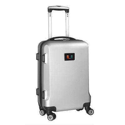 NCAA Miami 21 in. Silver Carry-On Hardcase Spinner Suitcase