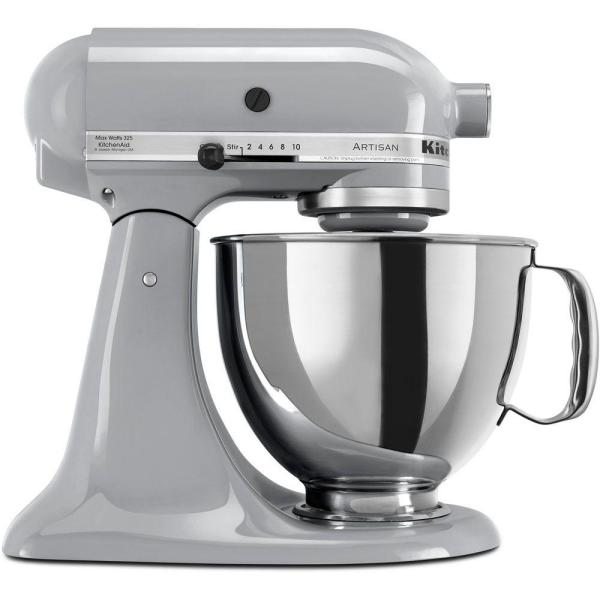 KitchenAid Artisan 5 Qt. 10-Speed Metallic Charcoal Stand Mixer with Flat