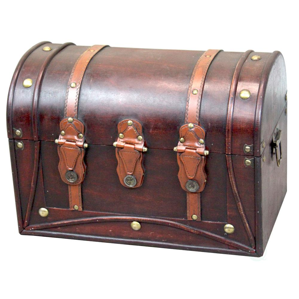 Decorative Antique Cherry Style Wood and Leather Round Top Trunk with Straps