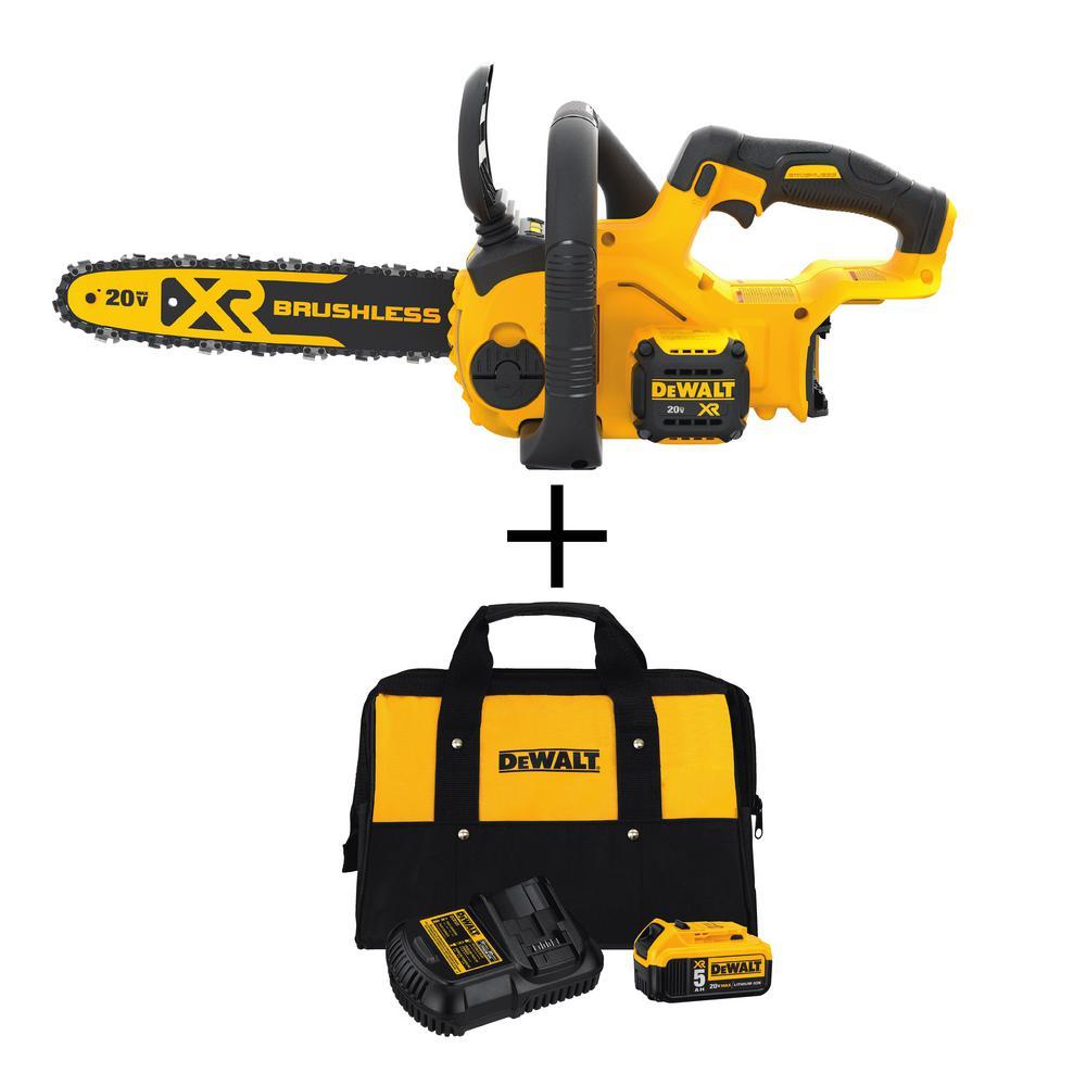 12 in. 20V MAX Cordless Brushless Chainsaw (Tool Only) with Bonus 20V MAX Starter Kit Included