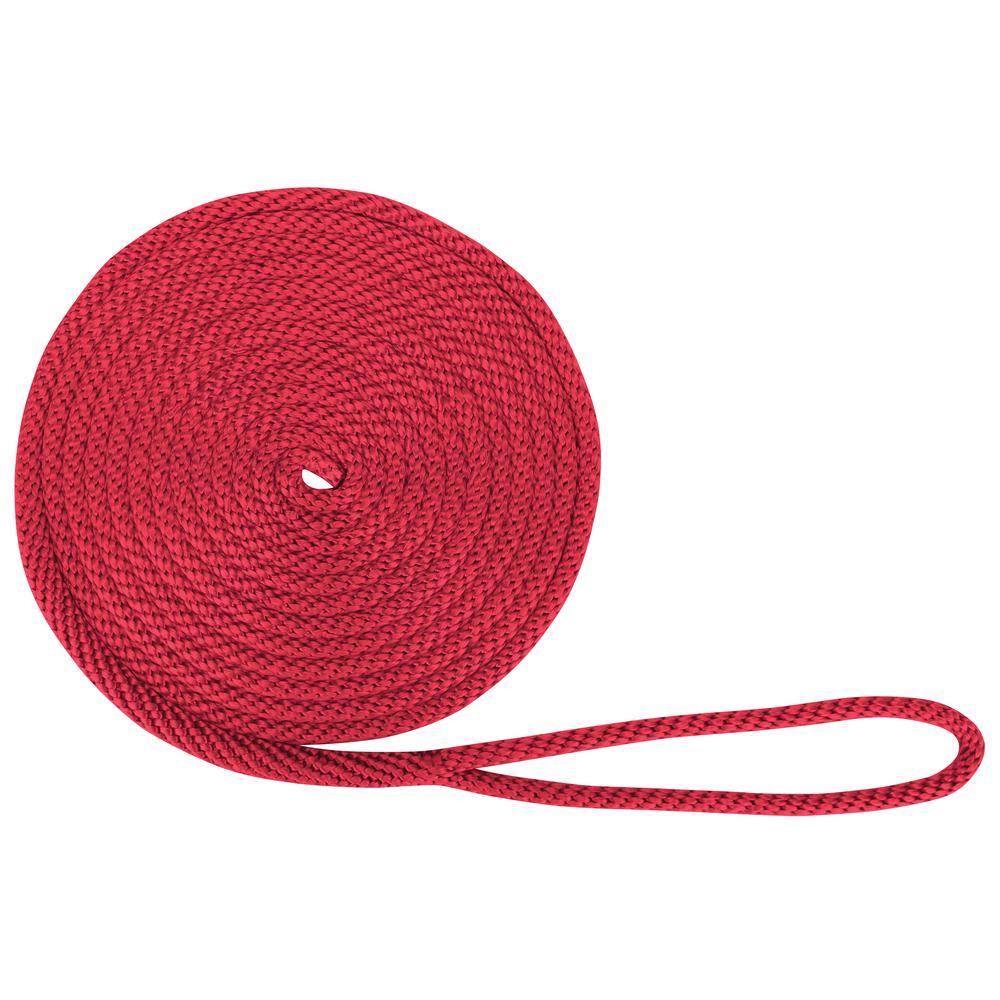 "3//8/"" x 20/' Solid Braid Nylon Dock Lines Made in USA Red"