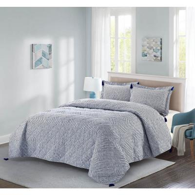 Theo 3-Piece Blue King Quilt Set