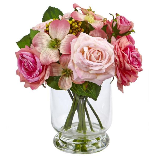 Nearly Natural 10 in. Rose and Berry Arrangement 4573