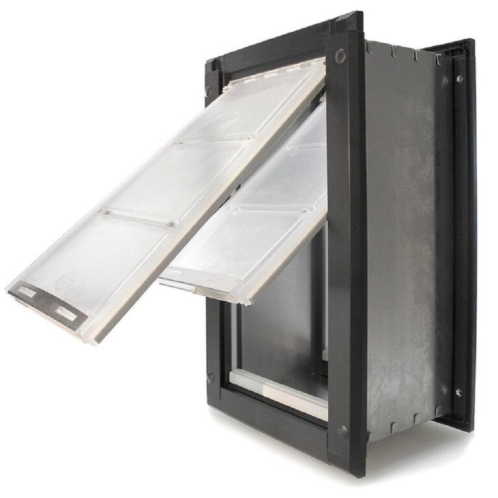 Endura Flap 12 in. x 22 in. Extra Large Double Flap for Walls with Black Aluminum Frame