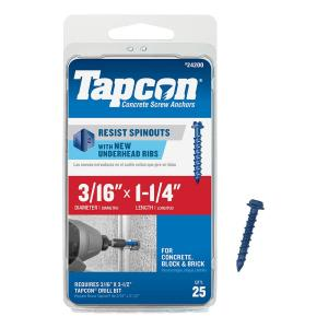 100 Pack 3//16x1-1//4 Slotted Hex Washer Head Phillips Diamond Tip Concrete Screws to Anchor Masonry Block /& Brick