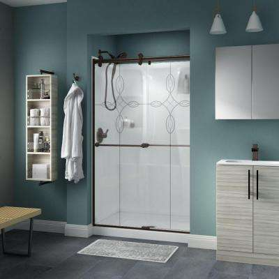 Crestfield 48 in. x 71 in. Semi-Frameless Contemporary Sliding Shower Door in Bronze with Tranquility Glass