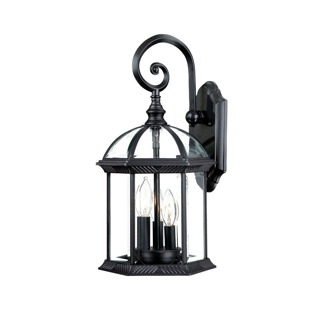 Dover Collection 3-Light Matte Black Outdoor Wall-Mount Light Fixture