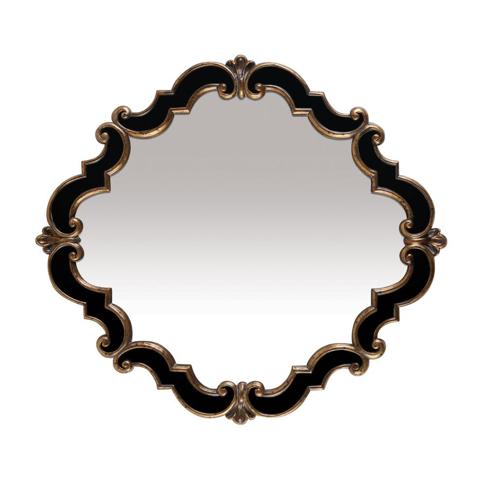 An Lighting Frederick Medallion 39 In X 35 Gold And Black Framed Mirror
