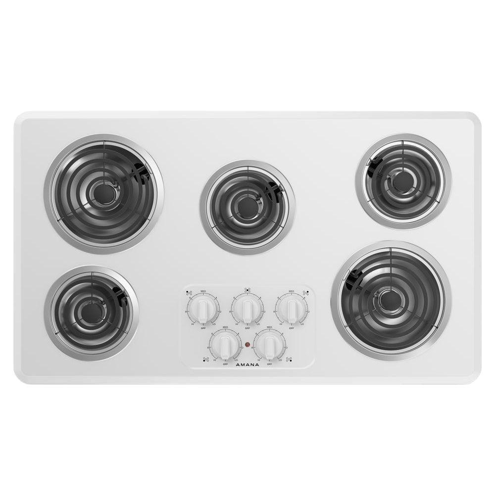 Amana 36 In Coil Electric Cooktop In White With 5