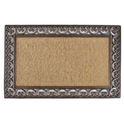 A1HC First Impression Classic Paisley Border Extra Large Double 30 in. x 48 in. Coir Door Mat