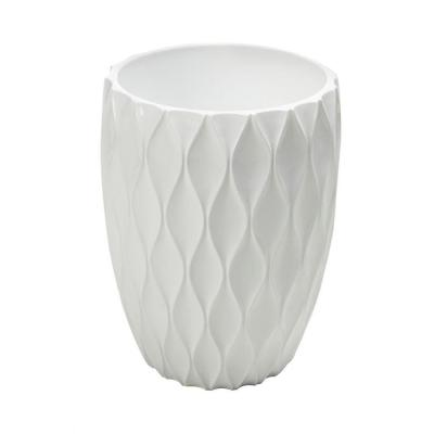 Roselli Trading Company 11 in. Wastebasket in White