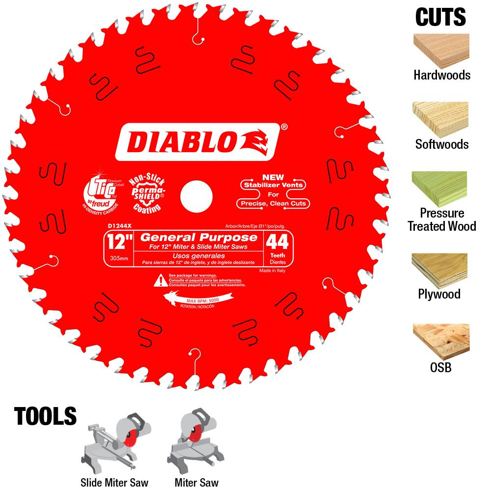 Diablo 12 in. x 44-Tooth General Purpose Saw Blade