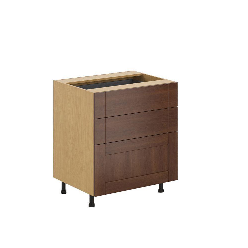 Birch Three Drawer Base Kitchen Cabinets