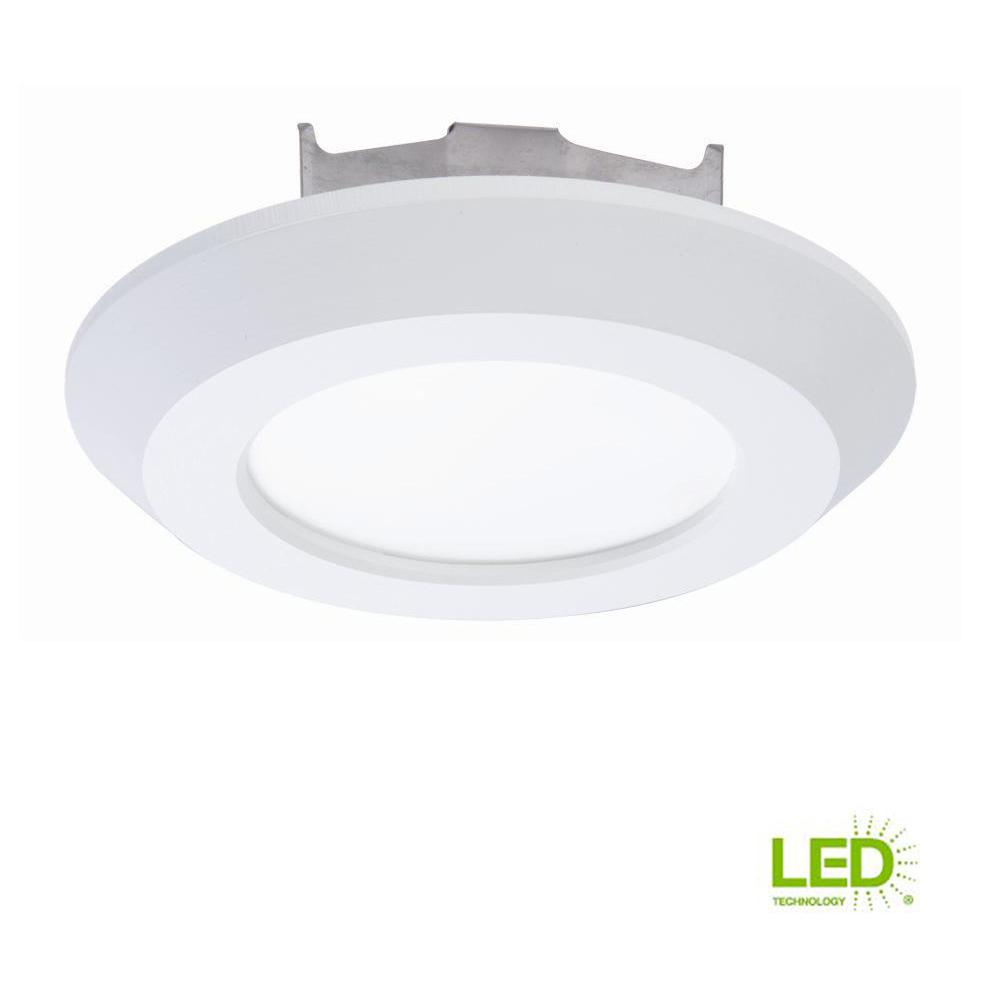 Halo 4 In Matte White Recessed Led 3000k Surface Disk Light With 80 Fixtures On Wiring Multiple Ceiling Fixture Cri