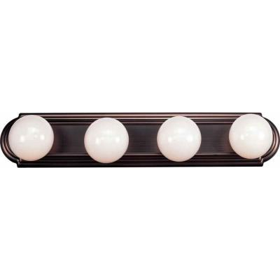 4-Light Indoor Antique Bronze Movie Beauty Makeup Hollywood Bath or Vanity Light Bar Wall Mount or Wall Sconce