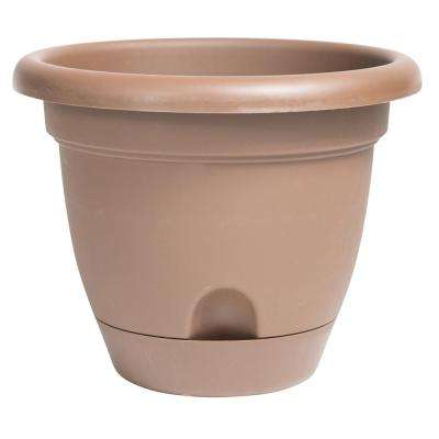 Lucca 12 in. Chocolate Plastic Self Watering Planter