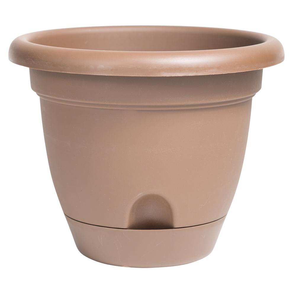 Lucca 18 in. Chocolate Plastic Self Watering Planter